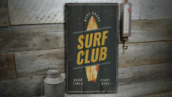 Surf Club Vintage Distressed Sign Personalized Wood Sign