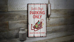 Santas Sleigh Parking Only Vintage Distressed Sign, Personalized Wood Sign