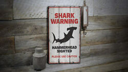 Shark Warning Caution Novelty Distressed Sign Personalized Wood Sign