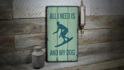 Surfing And My Dog Novelty Distressed Sign, Personalized Wood Sign