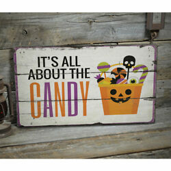 Halloween Candy Vintage Distressed Sign, Personalized Wood Sign