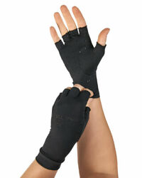 Half Finger Support Compression Gloves Hand Pain Black Relief By Tommie Copper