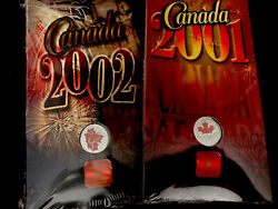 Two 2 Canada Day Ltd Edition Colorized 25 Cents Coins 2001 2002 - Mint Packs