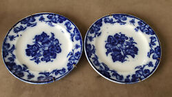 Two Rare Antique Flow Blue Plates Made By P.w And Co. Geraneum Pattern.1830andacutes 7
