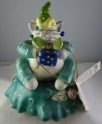 Whimsiclay Amy Lacombe Party Cat Music Box Cat Figurine