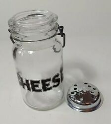 Vintage Cheese Canister Container Wheaton Usa Glass Wire Bail Shaker Vtg Kitchen