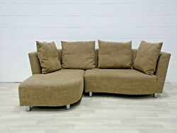 Rolf Benz Compact L Shape In Brown/cream Heavy Woven Fabric