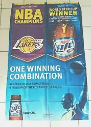 Large 2007 Miller Beer Vinyl Silk Banner Nba Champion Lakers 56'' X 36'' Inches