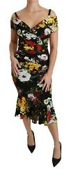 Dolce And Gabbana Dress Black Silk Stretch Sheath Floral Gown It40/us6/s Rrp 3400