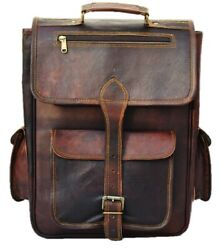 Vintage Brown Laptop Messenger Backpack Rucksack Genuine Diaper Unisex bag $55.00