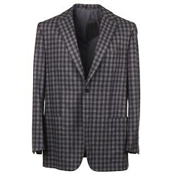 Kiton Gray And Brown Check Soft-brushed Flannel Wool Sport Coat 46r Eu 56
