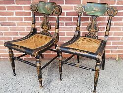 Fine Pair Of Antique Fancy Painted Federal/baltimore Side Chairs C.1820s