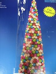 Bright Tridings 5 Ft Multi-color Lighted Ball Glass Tree - New W Box
