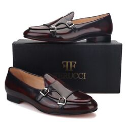Ferucci Brown Leather Double Monk Loafer Slippers Flat Prom Wedding