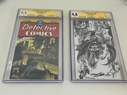 Detective Comics 1000 Set Cgc 9.9 Signed Ross And 9.8 Signed Adams Metal Variant