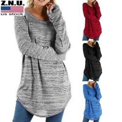 Womens Long Sleeve Solid T Shirt Blouse Casual Loose Solid Tunic Tops Plus Size $16.09