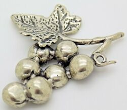 Vintage Solid Silver Italian Made Bunch Of Grapes Flat Figurine Stamp Miniature