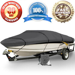 Brand New Boat Storage Cover 12ft 13ft 14ft Gray Tie Down Straps Weather Proof