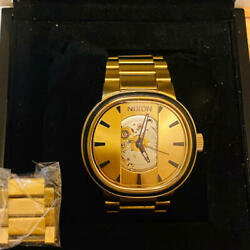 Nixon Capital Automatic Winding Analog Watch A089-510 Gold 10atm Water Resistant