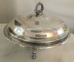 Wm Rogers And Son Spring Flower Round Silverplate Covered Footed Serving Dish