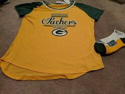 Green Bay Packers Size Xl Juniors Shirt With Socks Nwt Free Shipping
