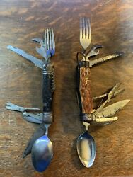 Pair Of Vintage Japanese Multi Tool Boy Scout Camping Pocket Knives Used Antique