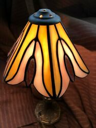 Vintage Signed Meyda Style Stained Glass Lamp Shade 2