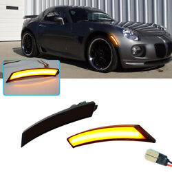Smoked Amber Led Front Sidemarker Lamps For 06-10 Pontiac Solstice And Saturn Sky