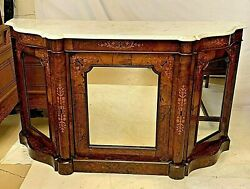 Antique Italian Burled Walnut And Marble Top Credenza Chest Sideboard Enfilade