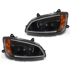 Kenworth T660 Black Projector Headlights W/led Bar And Signal For 2008-2016 - Both