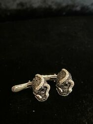 Theo Fennel 18k White Diamond Gold Skull And Snake Button Studs - 3/4