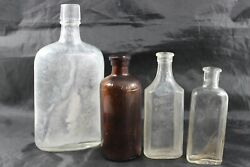 Vintage Clear And Amber Medicine Bottles Etched From The Ocean Set Of 4