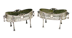 Pair Antal Bachruch Austrian 800 Silver Overlay Footed Jardinieres