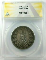 Nice 1902 Norway Silver 2 Kroner Coin Graded By Anacs As A Vf-20