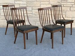 Set Of 4 Richardson Brothers Lawrence Peabody Ash And Black Vinyl Dinning Chairs