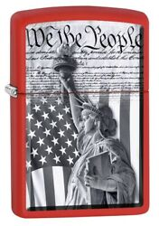 Zippo Lighter Constitution And Statue Of Liberty - Red Matte 79986