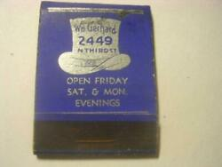 1930and039s Wm Gerhard Hats Only Strictly Union Store In Milwaukee Wi Empty Matchbook