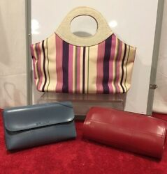 Striped Tote Purse Estee Lauder Red and blue small cosmetic bag Set of 3 $19.99