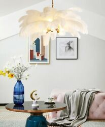 Led Ostrich Feather Ceiling Lamp Light Copper Modern Interior Home Lighting