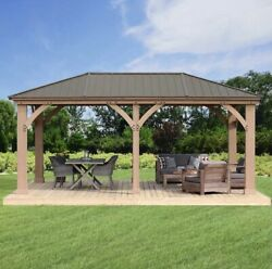 Yardistry 12and039 X 20and039 Cedar Wood Gazebo With Aluminum Roof New Pre-order