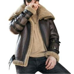 Winter Mens Short Thicken 100 Real Sheep Leather Biker Jackets Warm Lined New L