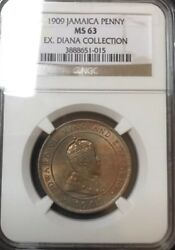 Ngc Ms63 Jamaica Penny 1909 Edward Vii Ex- Diana Collection
