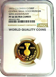 Colombia 1973 Gold 1500 Pesos Museum Of Central Bank Of Bogota Ngc Pf66