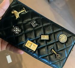 Nwt 15p Lucky Charms Long Zip Wallet L-zip Black Lamb Mademoiselle Gold