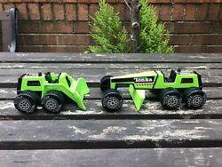 Tonka Vintage Toy 4x4 Small Front End Loader Green And Tonka Scraper Green