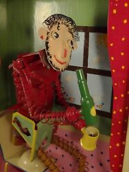 Animated Tin Toy Frame Wind-up Man Drinking On His Rocking Chair Tucher Walther