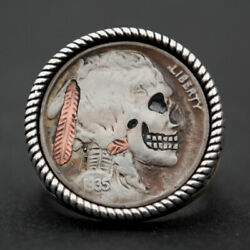 1935 Indian Head Buffalo Hobo Nickel Skull Face Zombie Coin Sterling Silver Ring