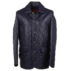 Isaia Navy Blue Diamond Quilted Nappa Leather Utility Jacket M Eu 48 Nwt 4995