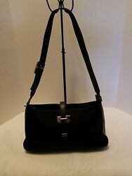 Etienne Aigner Black Handbags Purse Small Shoulder Nylon Leather Silver Trim $14.99