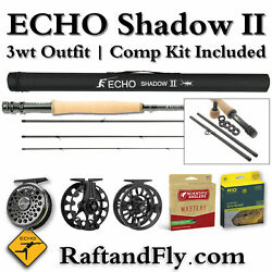 Back In Stock Echo Shadow Ii 3wt Fly Rod Free Comp Kit - Add Line And Reel 349